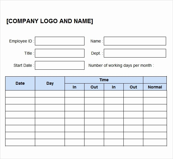 Time Log Template Excel Lovely Free 10 Time Log Templates In Pdf