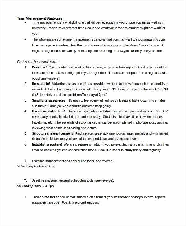Time Management Schedule Template Fresh Sample Time Management 7 Documents In Word Pdf