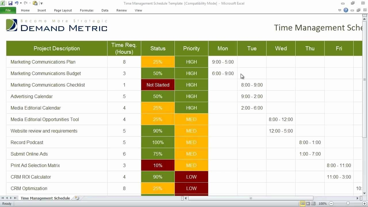 Time Management Schedule Template Inspirational Time Management Schedule Template