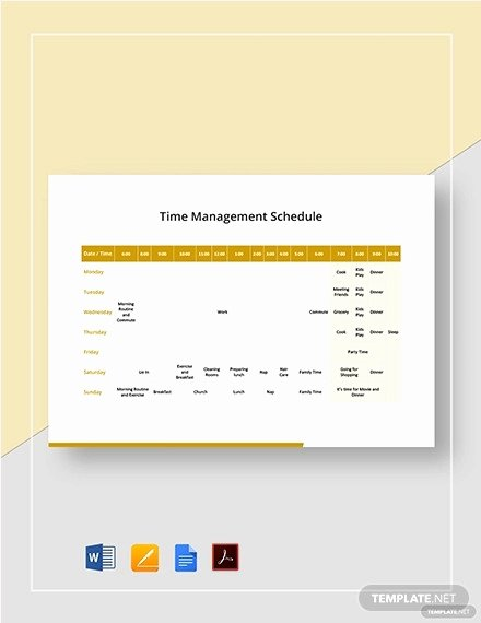 Time Management Schedule Template Lovely Free 7 Time Management Schedule Examples & Samples In