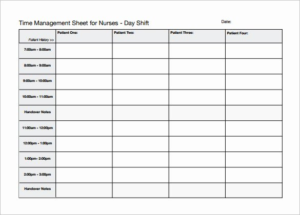 Time Management Schedule Template New 5 Nursing Schedule Templates Word Pdf Excel Google