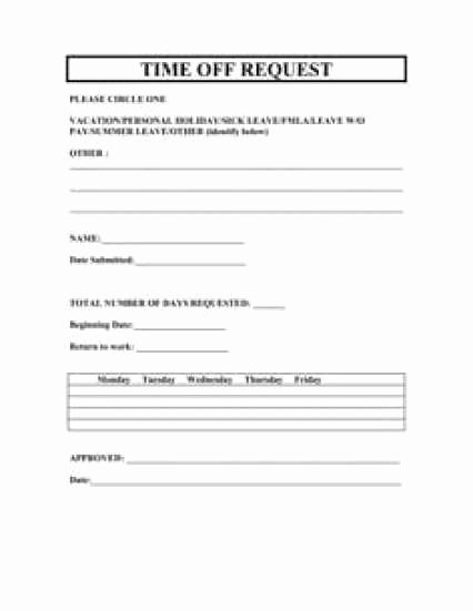 Time Off Request form Template New 10 Time F Request form Templates Excel Templates