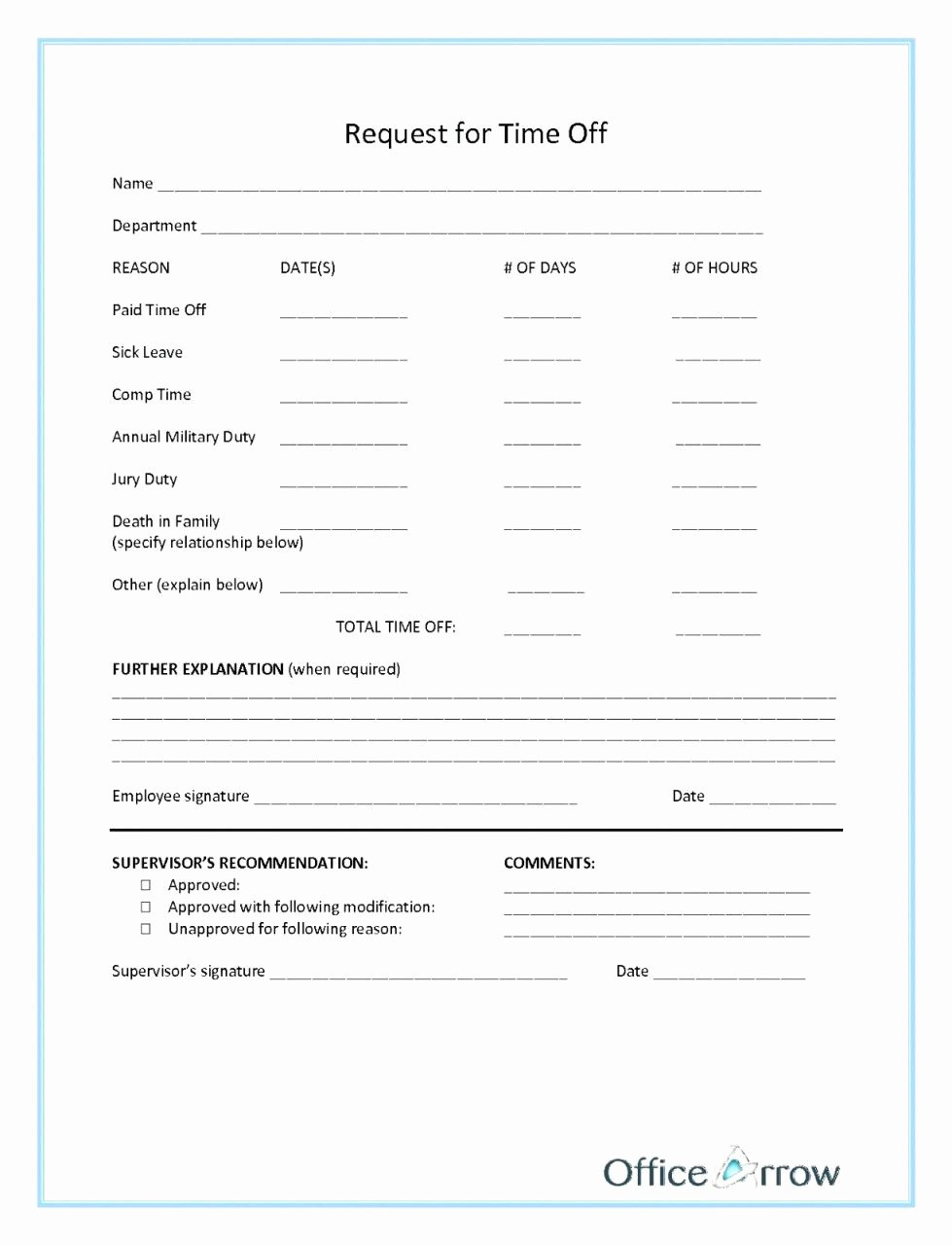 Time Off Request form Template New Paid Time F form