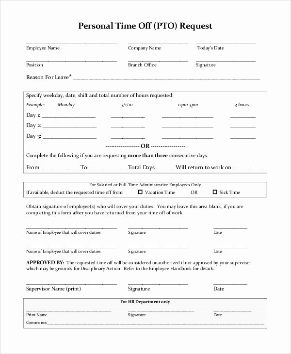 Time Off Request form Template Unique Sample Time F Request form 8 Examples In Pdf Word