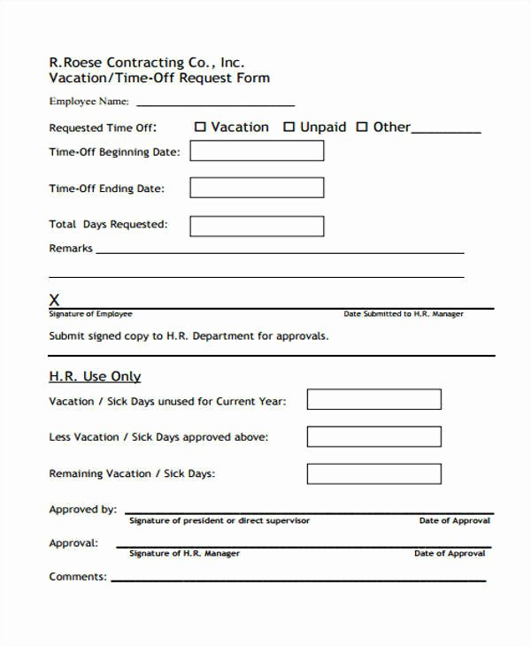 Time Off Request form Templates Beautiful 24 Time F Request forms In Pdf