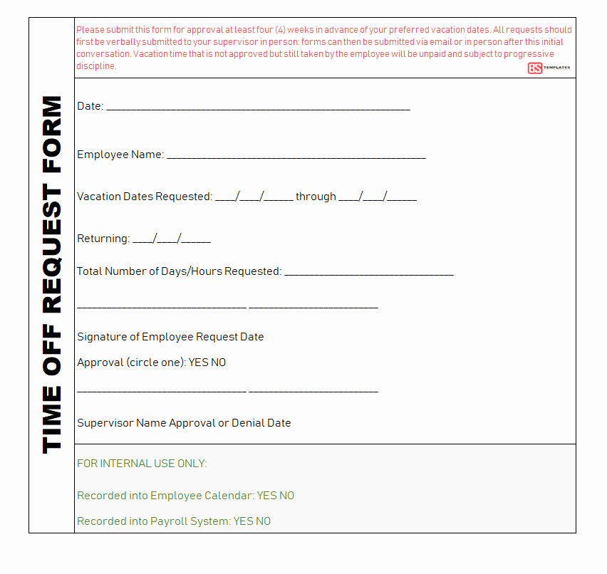 Time Off Request form Templates Beautiful Employee Time Off Request form Word Excel & Pdf Templates