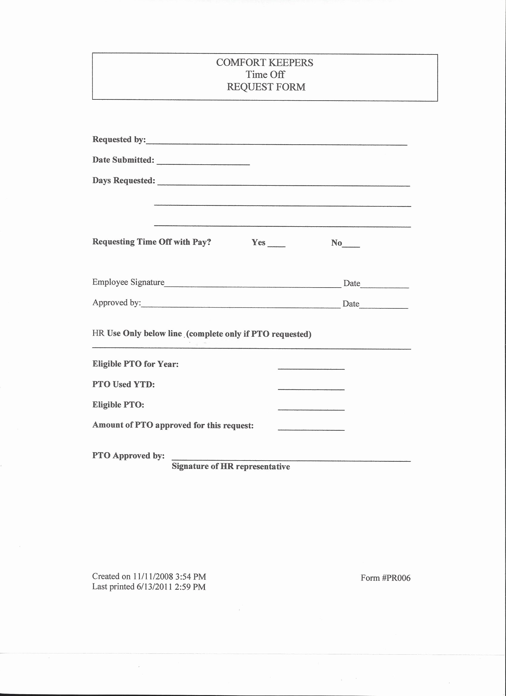Time Off Request form Templates Beautiful fort Keepers Employee Website