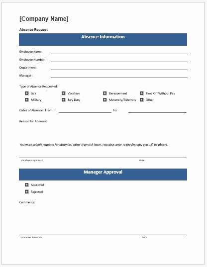 Time Off Request form Templates Elegant Time F Request form Template Ms Word