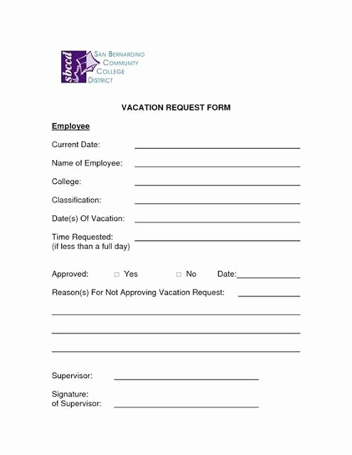 Time Off Request form Templates Fresh Microsoft Word Vacation Request form Template