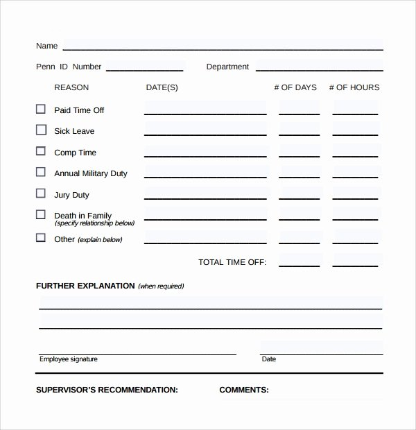 Time Off Request Template Inspirational Sample Time F Request form 23 Download Free Documents