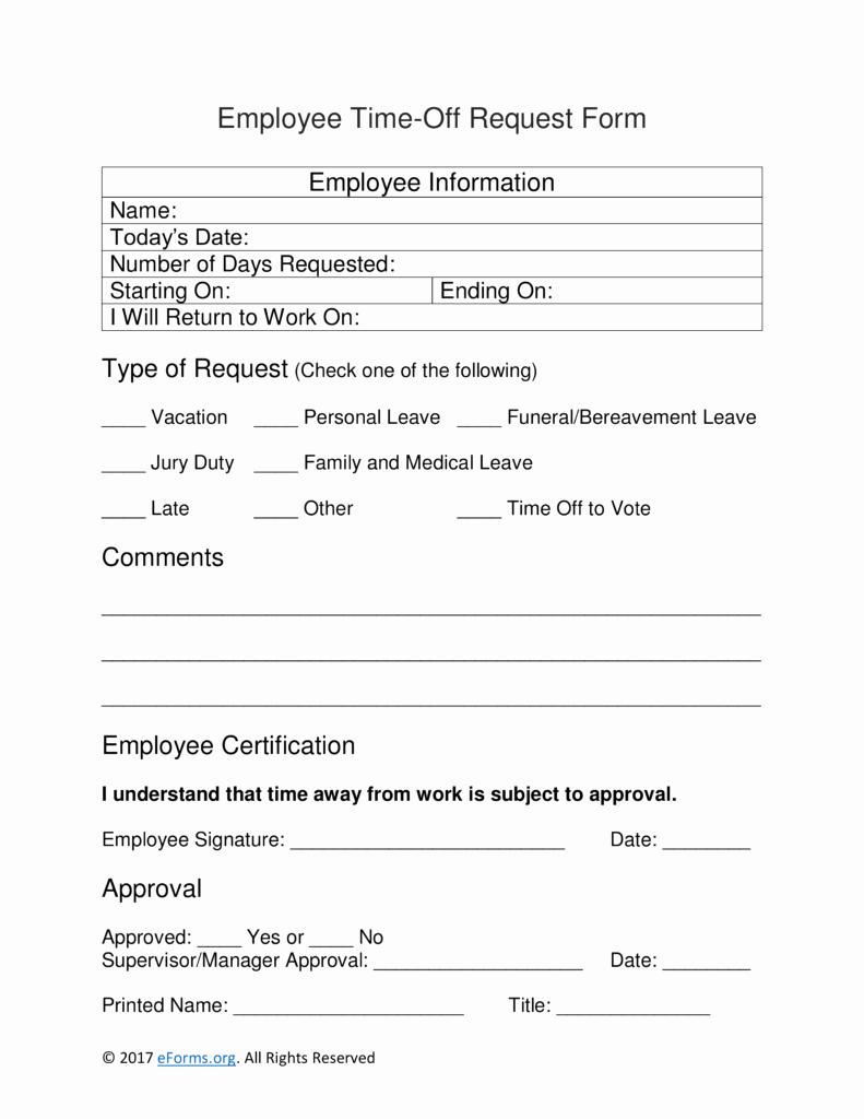 Time Off Request Template New Time F Request form