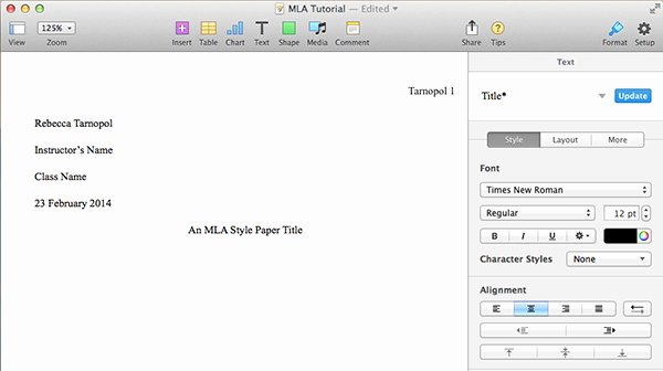 Title Page Mla Template Beautiful How to Create An Mla Template In Word and Pages