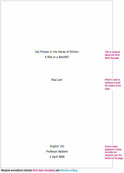Title Page Mla Template Best Of Mla format Sample Paper with Cover Page and Outline