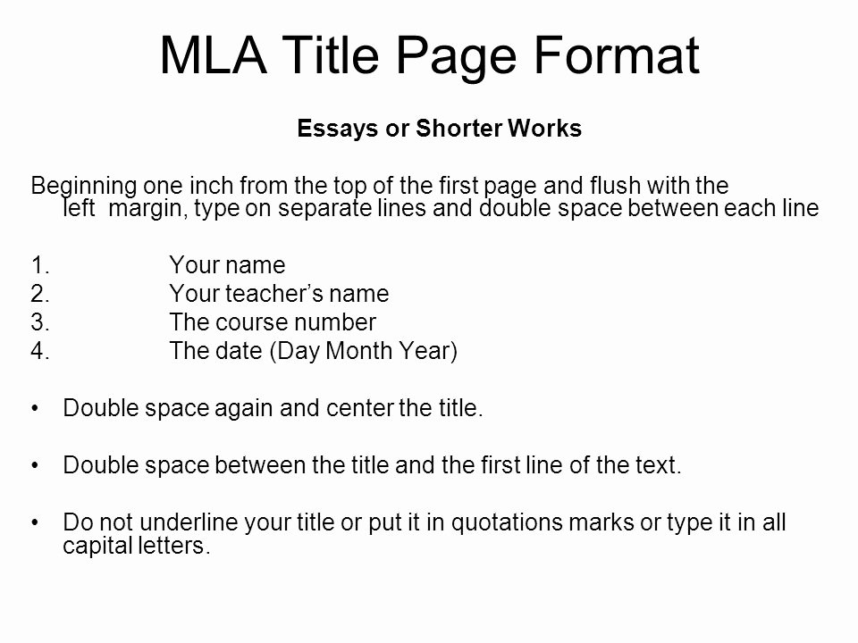 Title Page Mla Template New Mla Name format