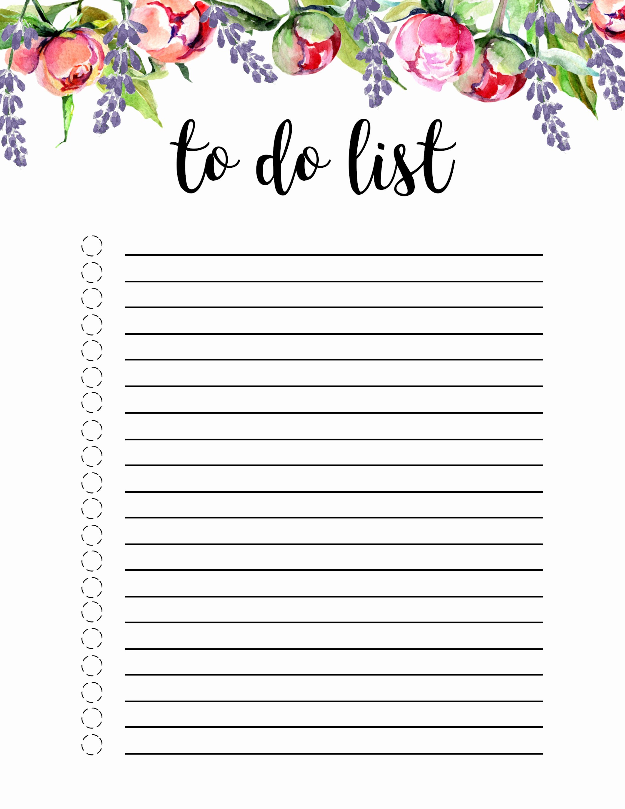 To Do List Templates Word Luxury Floral to Do List Printable Template Paper Trail Design