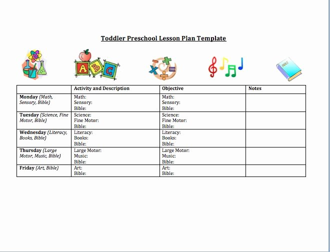 Toddler Lesson Plan Template Beautiful toddler Preschool Lesson Plan Template