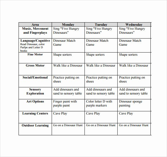 Toddler Lesson Plan Template Lovely Sample toddler Lesson Plan 9 Example format