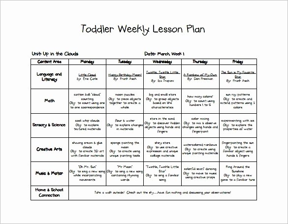 Toddler Lesson Plan Template New Early Childhood Lesson Plan Example