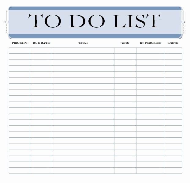 Todo List Template Word Awesome Editable to Do List Template