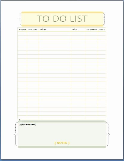 Todo List Template Word Fresh Ms Word Personal Tasks to Do List Template