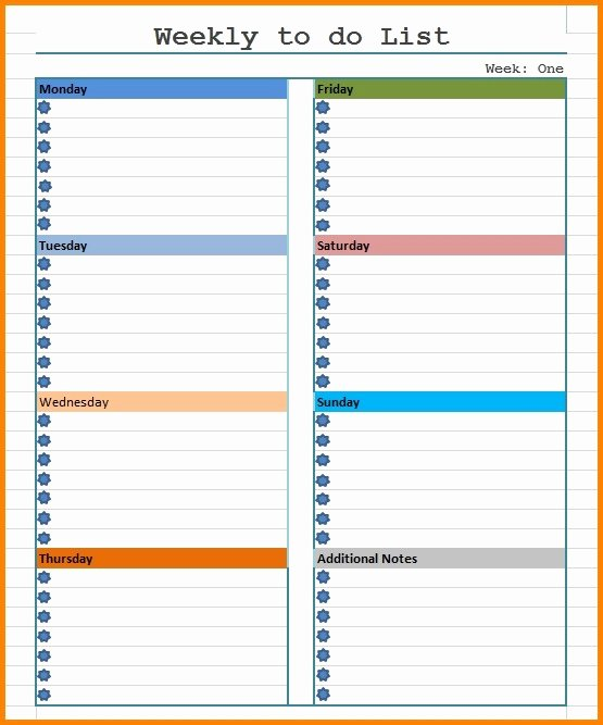 Todo List Template Word Inspirational Weekly to Do List Template Word