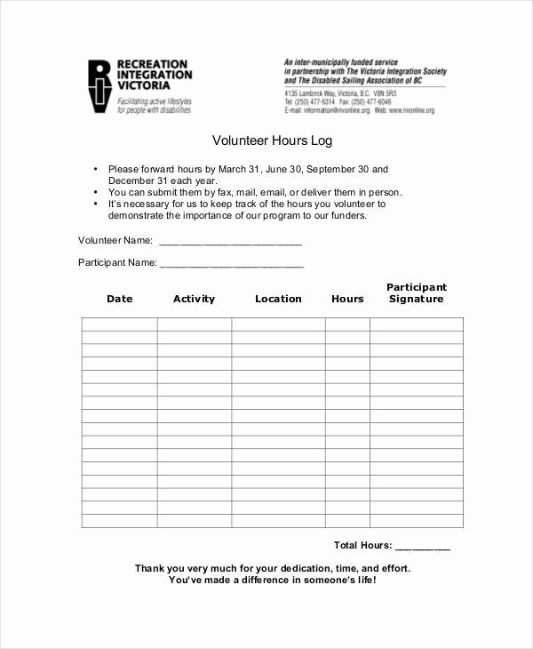 Tracking Volunteer Hours Template Awesome 33 Free Log Templates