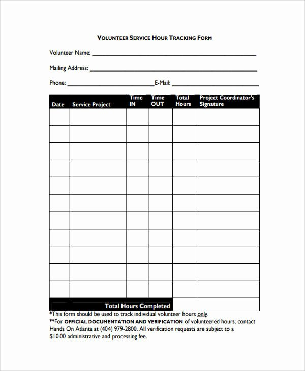 Tracking Volunteer Hours Template Elegant 35 Tracking forms In Pdf
