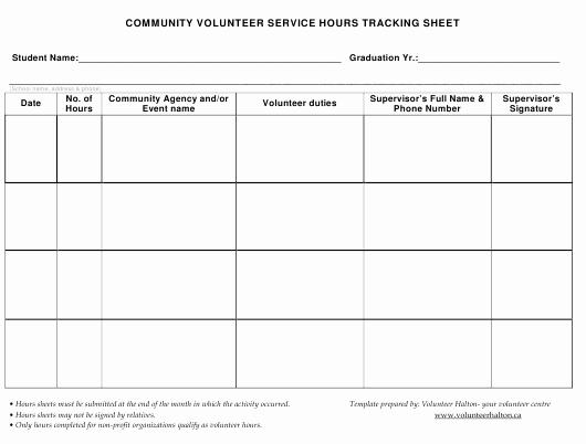 Tracking Volunteer Hours Template Elegant Volunteer Hours Tracking Sheet Download Printable Pdf