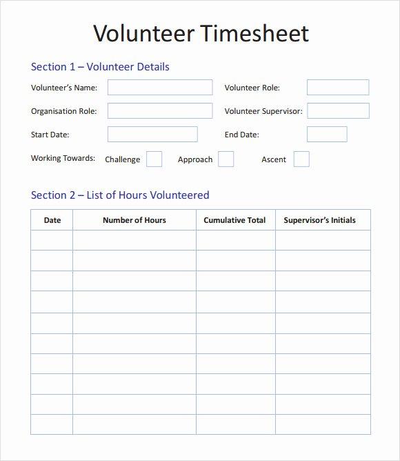 Tracking Volunteer Hours Template Lovely Free 10 Volunteer Timesheet Samples In Google Docs
