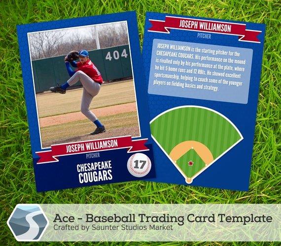 "Trading Card Template Photoshop Fresh Ace Baseball Trading Card 2 5"" X 3 5"" Shop"