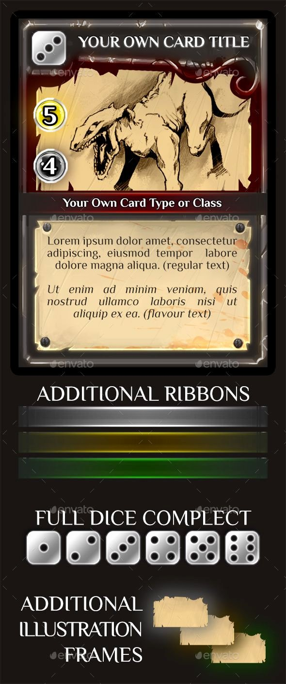 Trading Card Template Photoshop New Fantasy Trading or Collectible Card Template