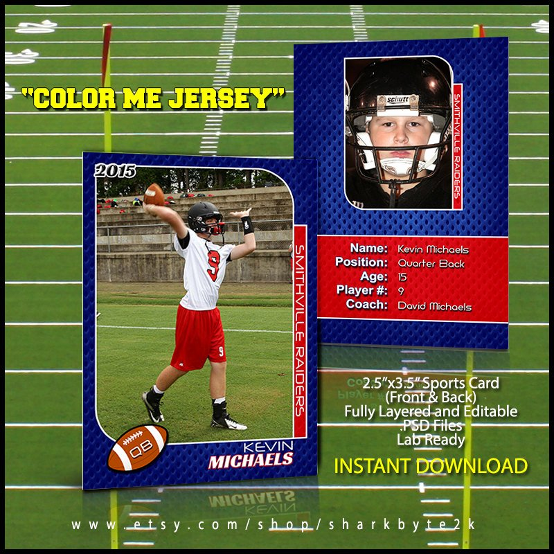 Trading Card Template Photoshop Unique 2017 Football Sports Trading Card Template for Shop