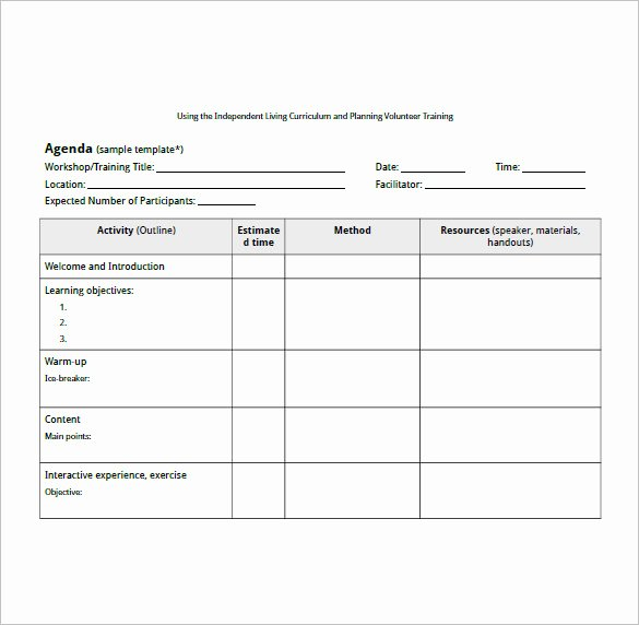 Training Agenda Template In Word Awesome Training Agenda Template – 8 Free Word Excel Pdf format