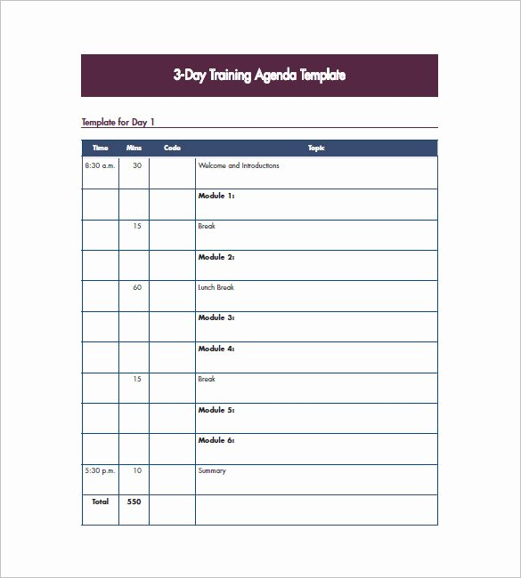 Training Agenda Template In Word Fresh Training Agenda Template – 8 Free Word Excel Pdf format
