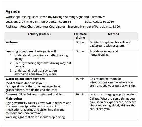 sample training agenda