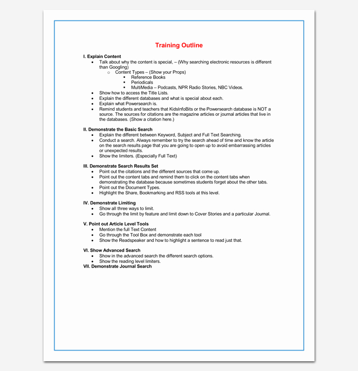Training Agenda Template In Word Lovely Training Course Outline Template 24 Free for Word & Pdf