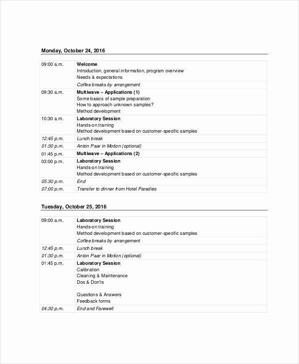 Training Agenda Template In Word Unique Sales Agenda Template 5 Free Word Pdf Documents