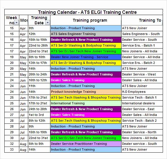 Training Calendar Template Excel Best Of Free 21 Sample Training Calendar Templates In Google Docs