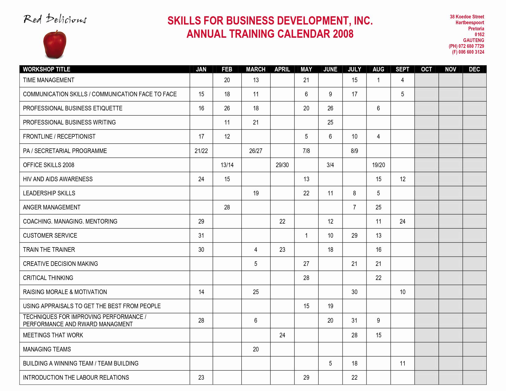 Training Calendar Template Excel Elegant 26 Of Annual Training Plan Template