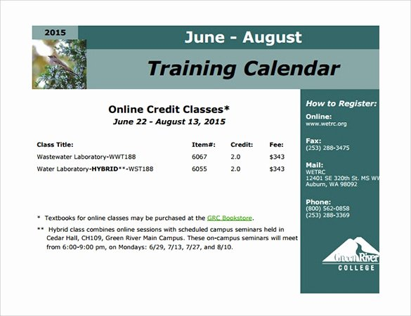 Training Calendar Template Excel Elegant Calendar Template 39 Download Documents In Word Excel