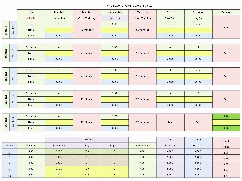 Training Calendar Template Excel Unique Excel Running Plan