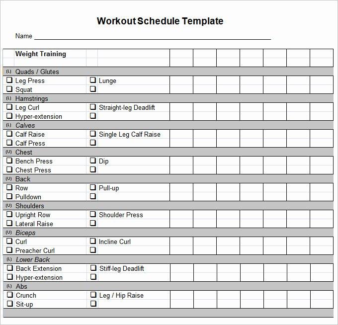 Training Calendar Template Excel Unique Workout Template Excel