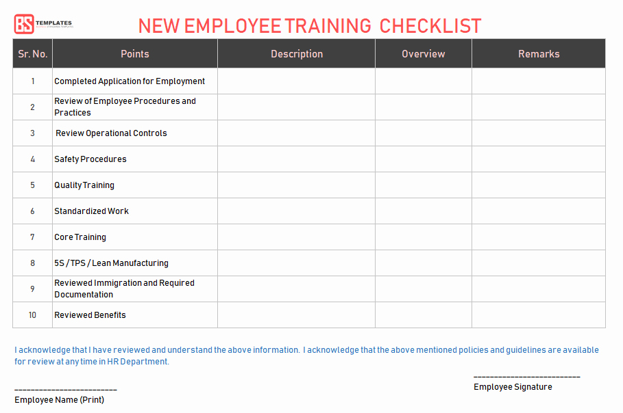 Training Checklist Template Excel Free Beautiful Employee Training Checklist Template for Excel & Word