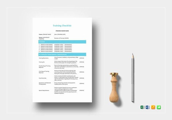 Training Checklist Template Excel Free Inspirational Training Checklist Template 21 Free Word Excel Pdf