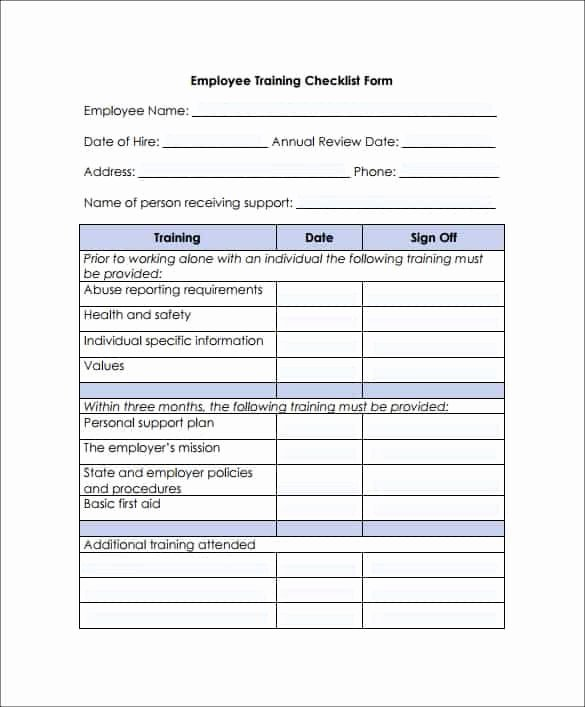 Training Checklist Template Excel Free Unique Training Checklist Templates Word Excel Fomats