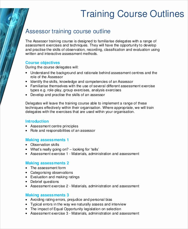 Training Course Outline Template Best Of Training Outline Templates 7 Free Word Pdf format