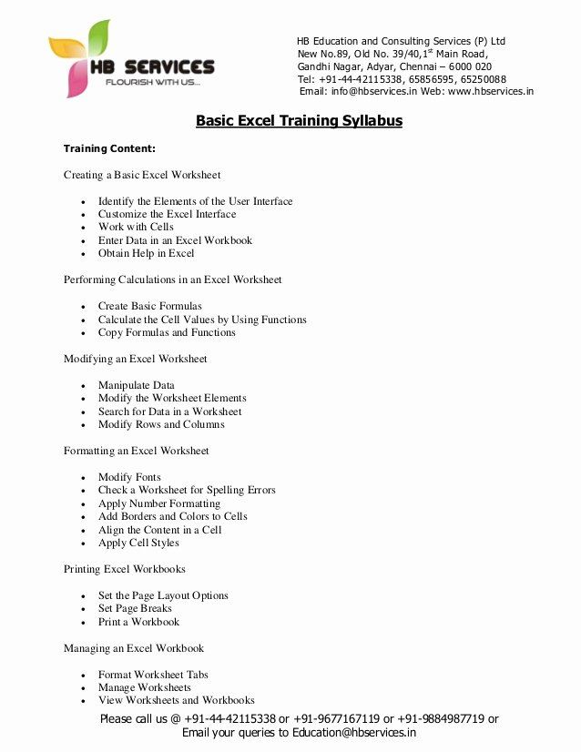 Training Course Outline Template Inspirational Basic Excel Training Syllabus