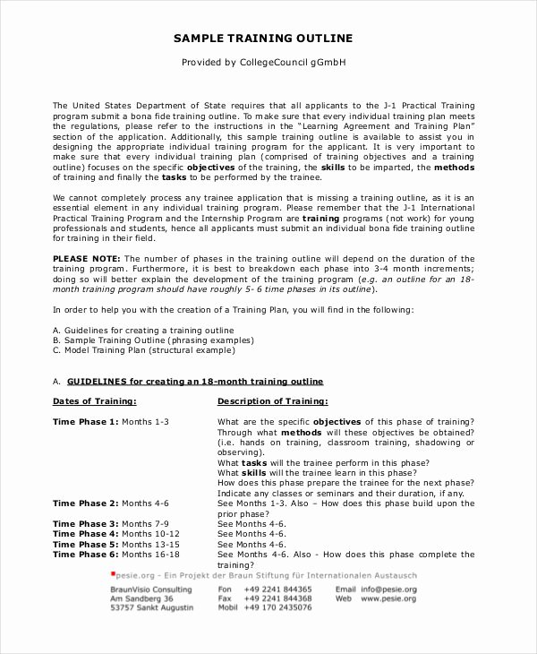 Training Course Outline Template Lovely 11 Training Outline Templates Pdf Word Apple Pages
