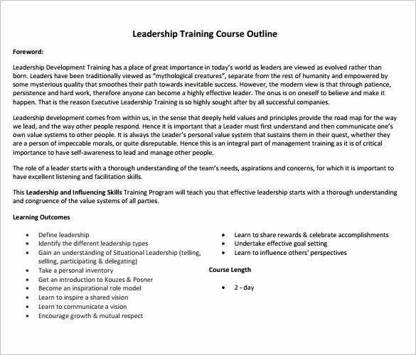 Training Course Outline Template Lovely 14 Training Course Outline Template Doc Pdf