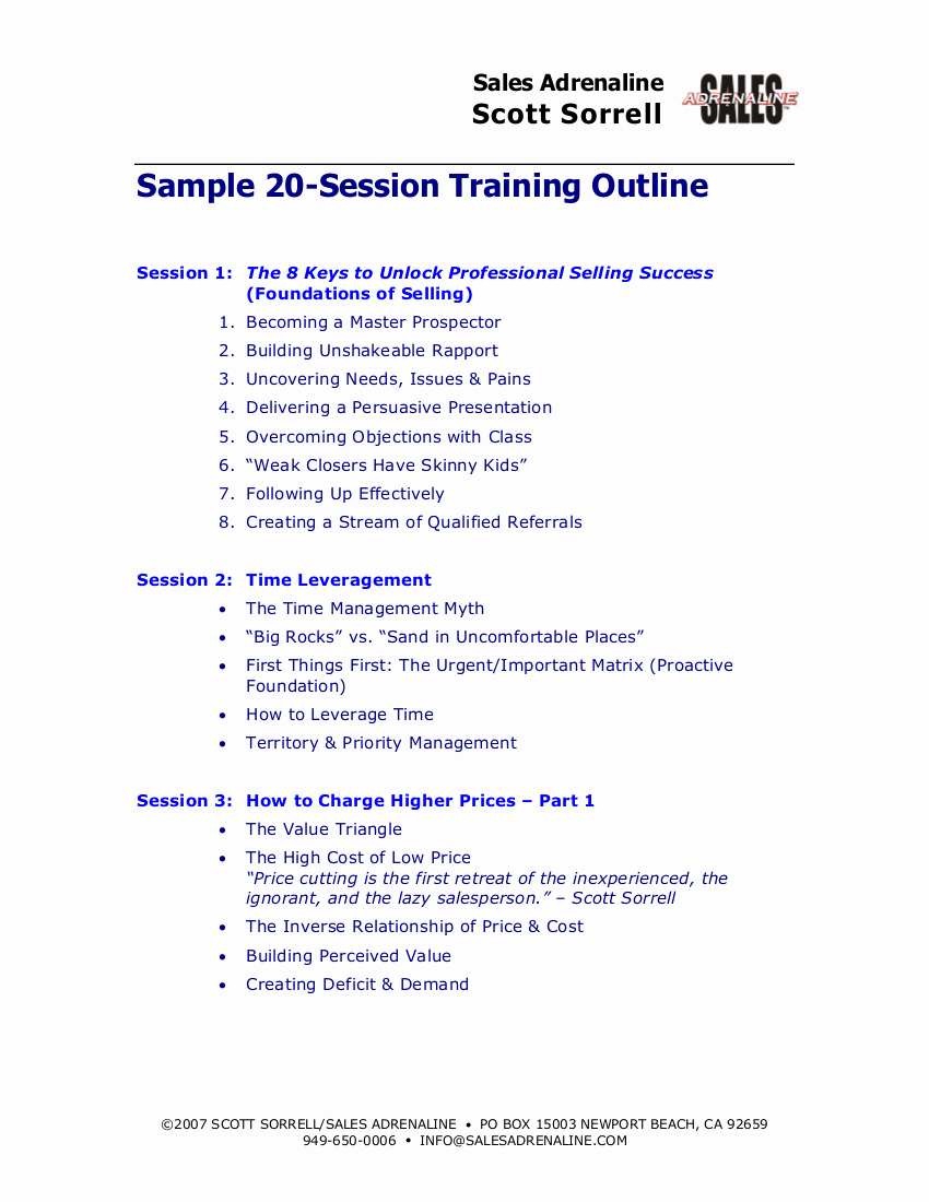 Training Course Outline Template Lovely 9 Training Outline Examples Pdf